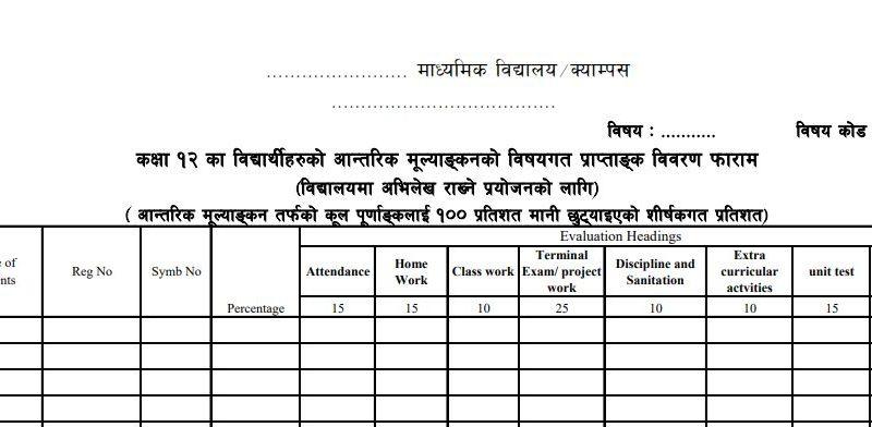 Student evaluation examination