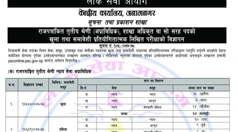 Section Officer Sakha Adhikrit Vacancy 2077- Loksewa Aayog Vacancy 2077