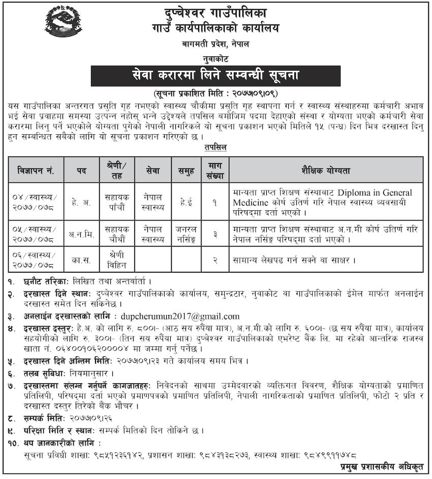 Vacancy at Dupcheshwor Gaupalika (Municipality)