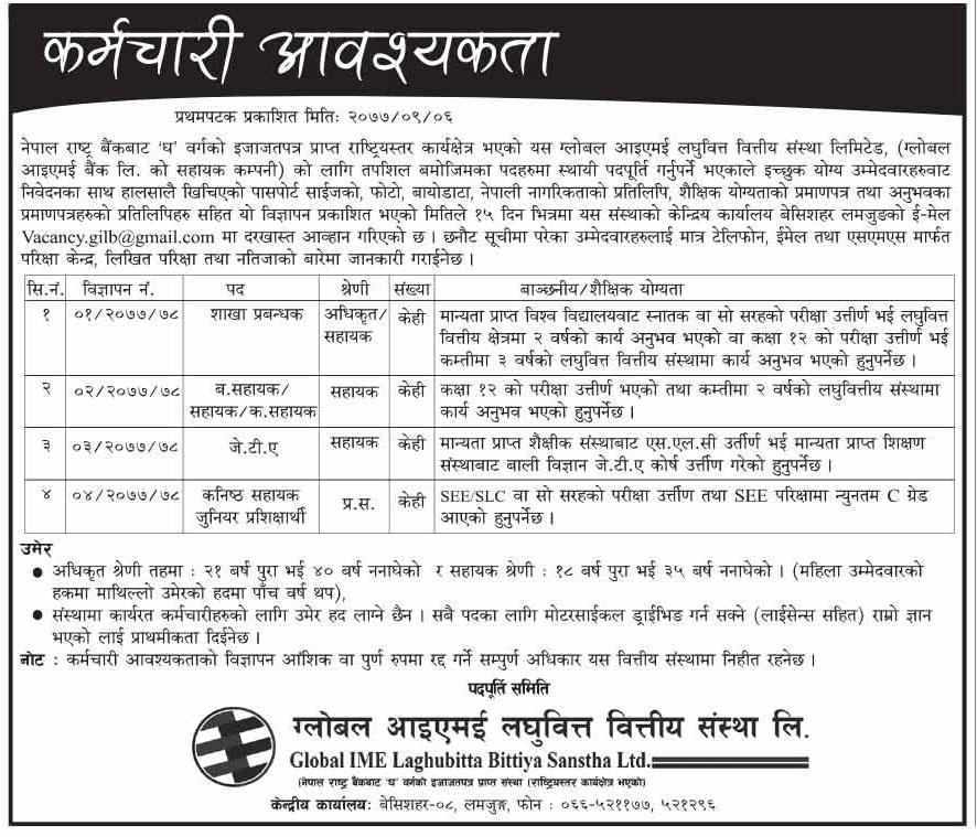 Vacancy at Global IME Laghubitta Bittiya Sanstha Ltd