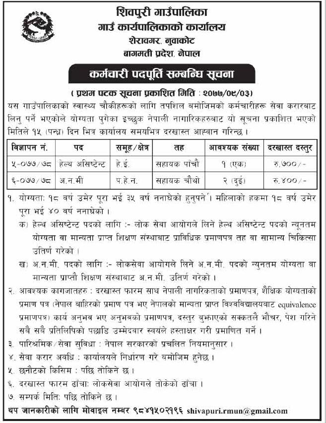 Vacancy at Shivapuri Gaupaika