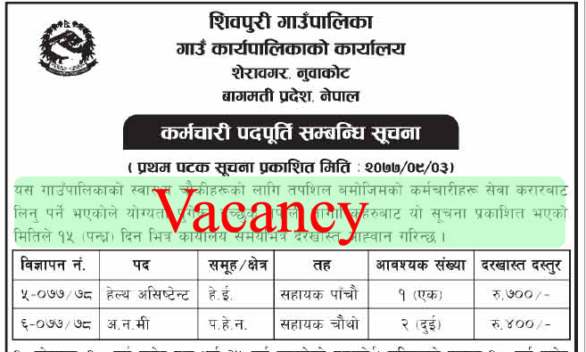 vacancy at shivapuri gaupalika