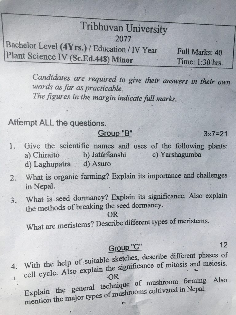 Old Question of Plant Science IV Education
