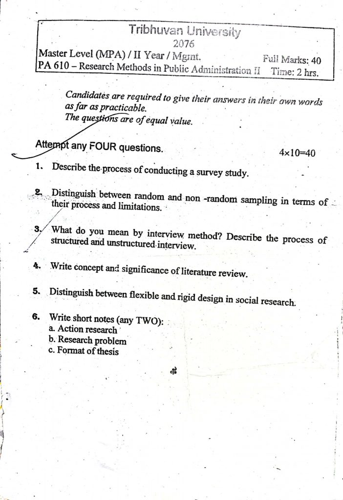 Subject: Research Methods in Public Administration II